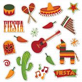 image of mexican fiesta  - collection of mexican stickers isolated on white - JPG