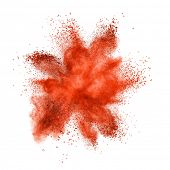 stock photo of smog  - Red powder explosion isolated on white background - JPG