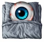 image of stress-ball  - Insomnia and sleeping problems concept as a human eye ball with red veins in a bed with a pillow as a symbol of the health risks of nighttime sleepnessness disorder - JPG