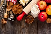 foto of ingredient  - Ingredients for apple pie cooking - JPG