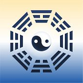 pic of yin  - I Ching with eight trigrams and the yin and yang symbol in the center - JPG