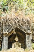 stock photo of gautama buddha  - Old Buddha in Thai Temple at Chiangmai Thailand - JPG