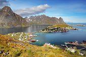 stock photo of lofoten  - Norway village in sea Lofoten at a day - JPG