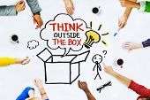 foto of thinking outside box  - Hands on Whiteboard with Think Outside the Box Concepts - JPG