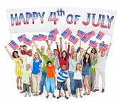 picture of independent woman  - Diverse Cheerful People Celebrating Independence Day - JPG