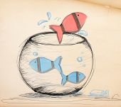 picture of fishbowl  - Fish Escaping from Fishbowl - JPG