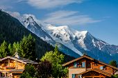 picture of chalet  - Beautiful wood chalet in Chamonix France Mont Blanc on a sunny day - JPG