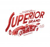 stock photo of apparel  - vintage label with  old car for apparel - JPG