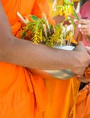 image of lent  - Tak Bat Dok Mai or Flower Alms Offering Festival at the beginning of Buddhist Lent in Saraburi - JPG