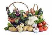 foto of escarole  - A basket with assortment of vegetables isolated on a white background - JPG