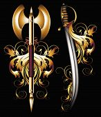pic of saber  - ancient halbert and saber decorated floral elements - JPG