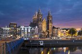foto of nicholas  - Evening view on Church of Saint Nicholas in Amsterdam Netherlands - JPG