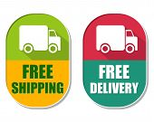 picture of free-trade  - free shipping and delivery with truck symbol two elliptic flat design labels with icons business transportation concept - JPG