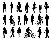 picture of ordinary woman  - big set of black silhouettes of women of different ages walking in the street and riding a bicycle - JPG