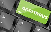 picture of enormous  - enormous word on keyboard key notebook computer button - JPG