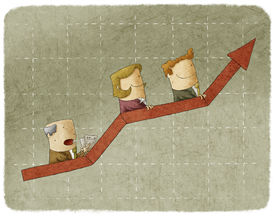 picture of going out business sale  - Three business people going up in arrow graph escalator - JPG