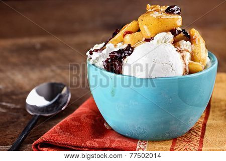 Vanilla Ice Cream With Apple Cranberry Crisp
