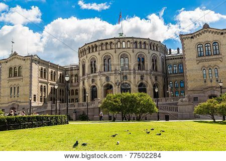 Norwegian Parliament Building In Oslo