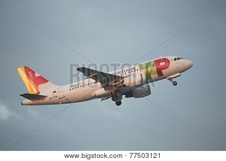 BUDAPEST, HUNGARY - NOVEMBER 05: TAP airliner taking off at Budapest (LHBP), November 5th 2014. TAP Portugal is the flag carrier airline of Portugal