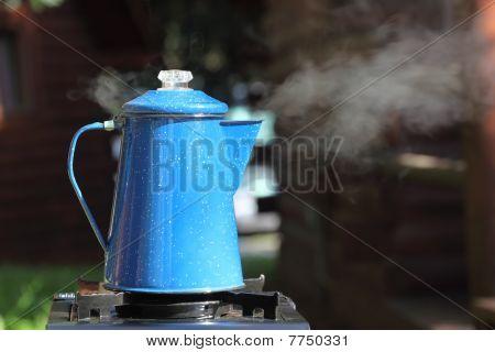 Steaming Vintage Coffee Pot