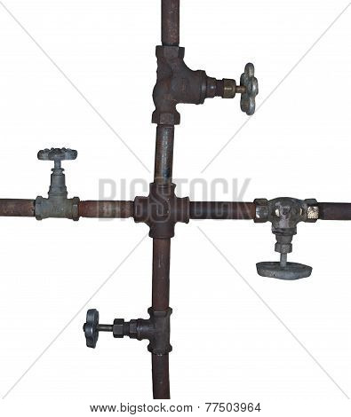 Fragment Of The Old Water Conduit Consisting Of Pipes, Fittings And Valve Isolated On White Backgrou