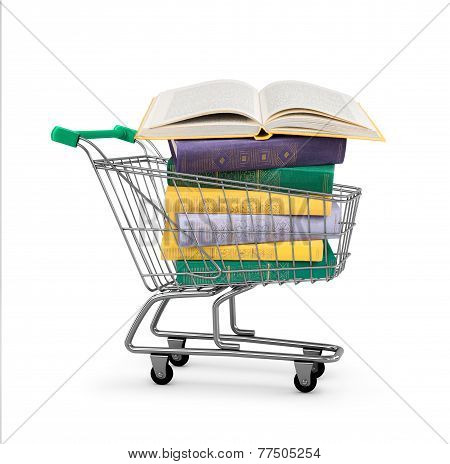 Stack Of Colorful Book In Shopping Card On An Isolated White Background. Concept Of Online Shopping