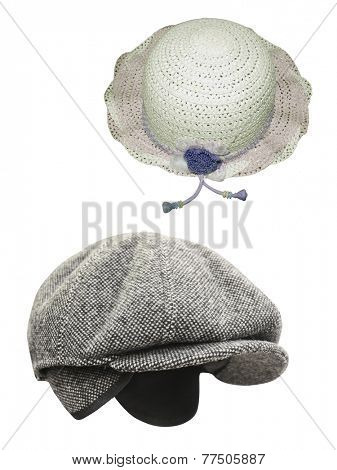peaked cap and straw hat under the white background