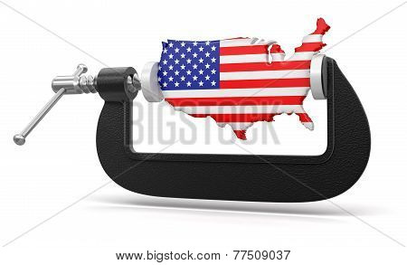 USA in clamp (clipping path included)