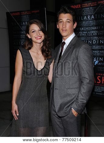 LOS ANGELES - OCT 06:  Melissa Benoist & Miles Teller arrives to the