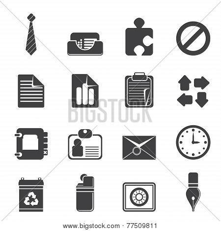 Silhouette Simple Business and Office Icons Silhouette Simple Business and Office Icons - Vector Ico