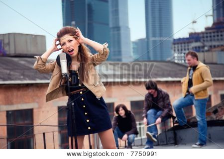 Group of musicians on a roof