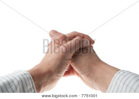Young Hand In Business Shirt Praying