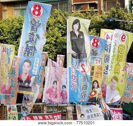 Election Flags In Taiwan