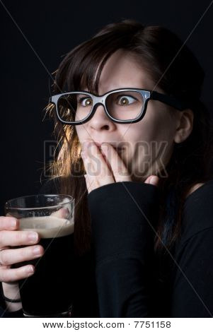 Nerdy Girl Drinking A Beer