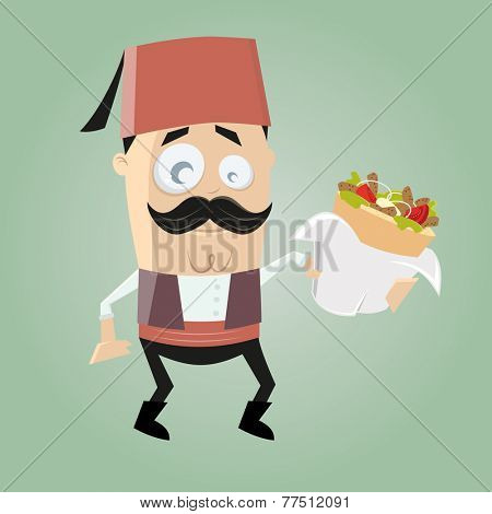 funny turkish cartoon man is serving doner kebab