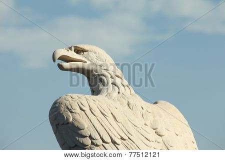 Stone bold eagle at the Bahai gardens, Haifa, Israel