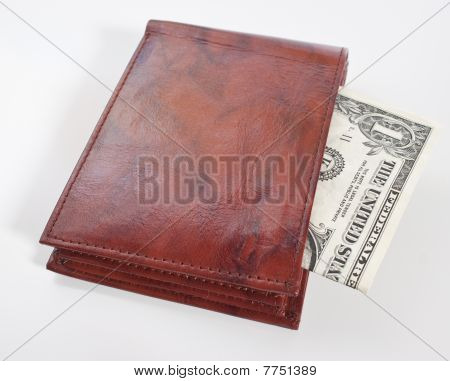 Leather Wallet With One Dollar Bill Inside