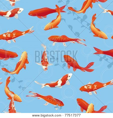 Red koi fishes in the pond