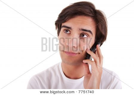 Man On The Phone, Bored Isolated On White Background. Studio Shot.