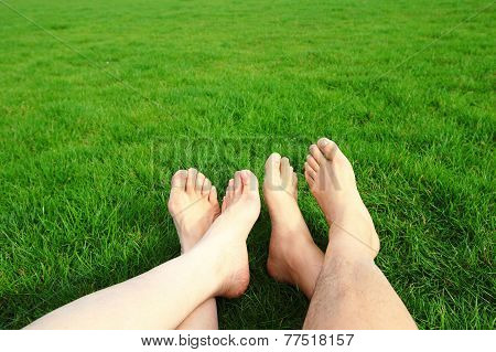 Couple Relax Barefoot Enjoy Nature