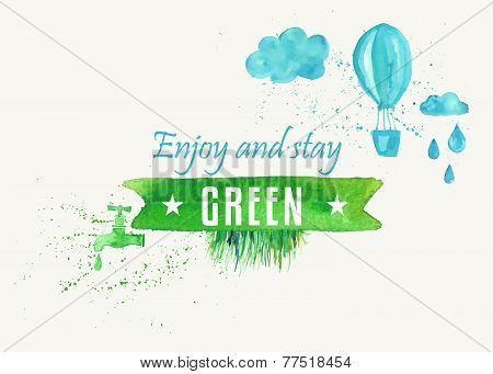 Vector watercolor background illustration with green bio recycle concept .