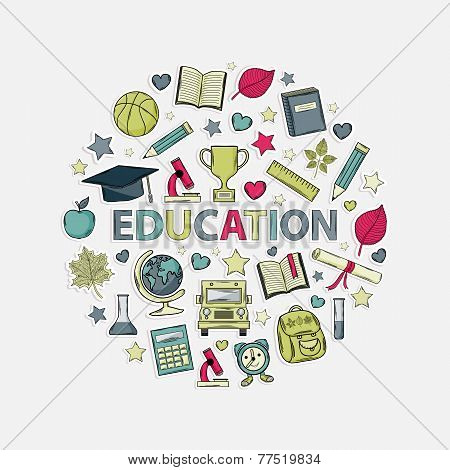 Education icons set  in the form of a circle