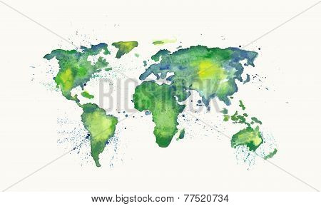 Watercolor vector world map with splatters and splashes.