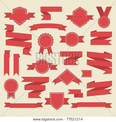 Red ribbons medal award set. Vector.