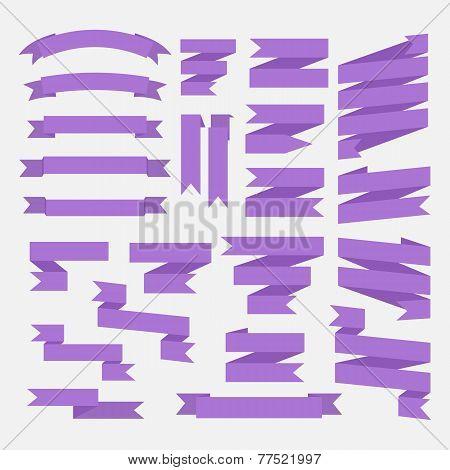 Purple ribbons set, Vector