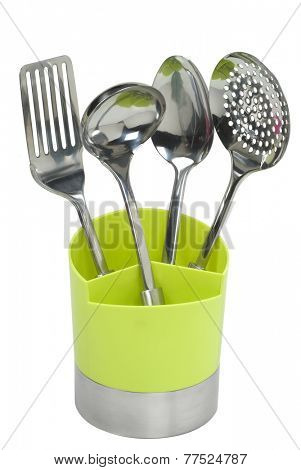 four special cutlery in green container
