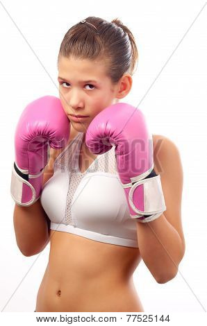 Kick boxing girl isolated on white