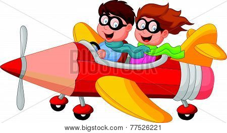 Boy and girl on a pencil airplane