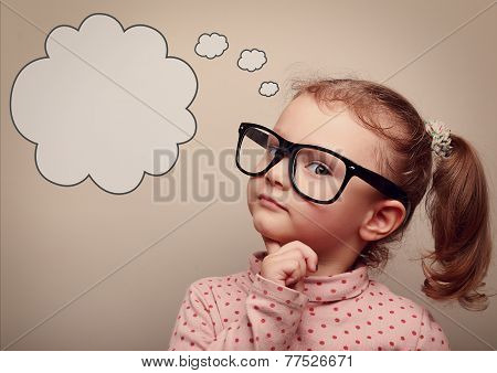 Smart Kid In Glasses Thinking With Speech Bubble Above. Vintage