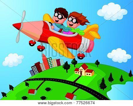 School Children Enjoying airplane pencil